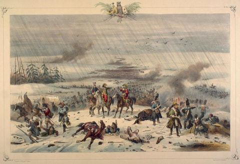 The retreat of Napoleon from Russia, 3 November 1812 (Victor Adam, mid-19th century hand-coloured lithograph)